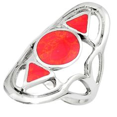 6.69gms red coral enamel 925 sterling silver ring jewelry size 7 a90913