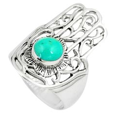 1.37cts fine green turquoise 925 silver hand of god hamsa ring size 7 a90922