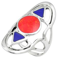 6.87gms red coral lapis lazuli enamel 925 sterling silver ring size 7.5 a90923