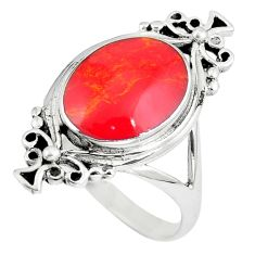 6.26gms red coral enamel 925 sterling silver ring jewelry size 9.5 a90938