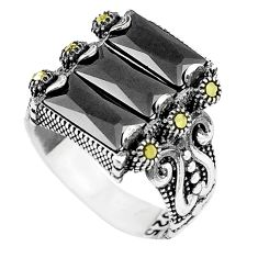 8.96cts black onyx fine marcasite 925 silver mens ring jewelry size 9.5 a91247