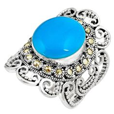 Blue sleeping beauty turquoise marcasite 925 silver solitaire ring size 7 a91711