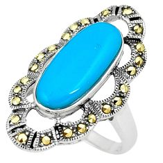 4.35cts sleeping beauty turquoise marcasite silver solitaire ring size 8 a91713