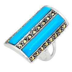 Sleeping beauty turquoise marcasite 925 silver solitaire ring size 6.5 a91729
