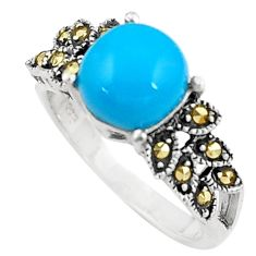Blue sleeping beauty turquoise marcasite silver solitaire ring size 6.5 a91730
