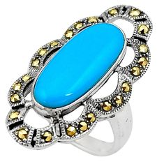 Sleeping beauty turquoise marcasite 925 silver solitaire ring size 6.5 a91754