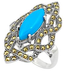 Blue sleeping beauty turquoise marcasite silver solitaire ring size 7.5 a91755