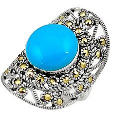 Sleeping beauty turquoise marcasite 925 silver solitaire ring size 6.5 a91758