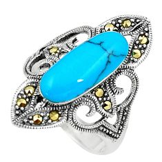 Sleeping beauty turquoise marcasite 925 silver solitaire ring size 8.5 a91759