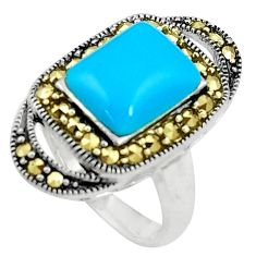 925 silver blue sleeping beauty turquoise marcasite solitaire ring size 7 a91760