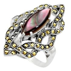 4.95cts abalone paua seashell 925 silver solitaire ring jewelry size 8 a91763
