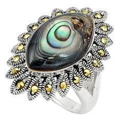Green abalone paua seashell 925 silver solitaire ring jewelry size 6.5 a91765