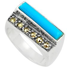 Blue sleeping beauty turquoise marcasite 925 silver solitaire ring size 8 a91773