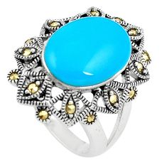 Blue sleeping beauty turquoise marcasite silver solitaire ring size 7.5 a91778