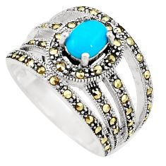 Sleeping beauty turquoise marcasite 925 silver solitaire ring size 8.5 a91801