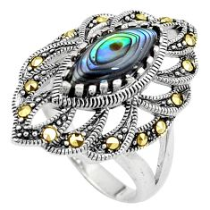Green abalone paua seashell 925 silver solitaire ring jewelry size 7.5 a91806