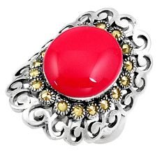 925 sterling silver red coral marcasite solitaire ring jewelry size 7.5 a91813