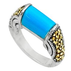 Blue sleeping beauty turquoise marcasite 925 silver solitaire ring size 6 a91814