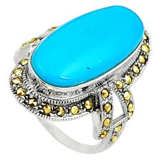 Blue sleeping beauty turquoise marcasite 925 silver solitaire ring size 6 a91819