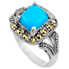 Blue sleeping beauty turquoise marcasite 925 silver solitaire ring size 7 a91825