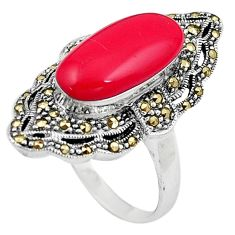 8.33cts red coral marcasite 925 sterling silver solitaire ring size 9.5 a91827