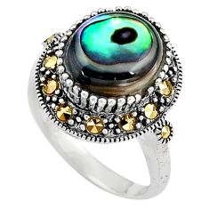 Green abalone paua seashell 925 silver solitaire ring jewelry size 7.5 a91831