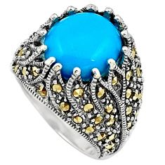 Sleeping beauty turquoise marcasite 925 silver solitaire ring size 6.5 a91834