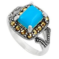 Blue sleeping beauty turquoise marcasite silver solitaire ring size 6.5 a91835