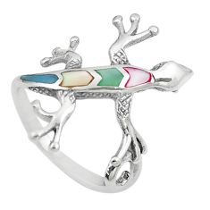 4.25gms multi color blister pearl enamel 925 silver lizard ring size 8 a91949