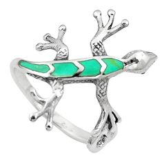 3.89gms fine green turquoise enamel 925 silver lizard ring size 9 a91955
