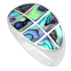 925 silver 5.69gms green abalone paua seashell ring jewelry size 8.5 a91991