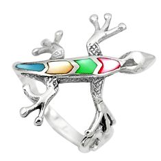 3.69gms multi color blister pearl enamel 925 silver lizard ring size 7 a92039