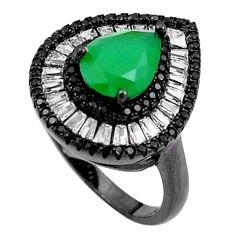 6.10cts green emerald quartz white topaz rhodium 925 silver ring size 7 a92101
