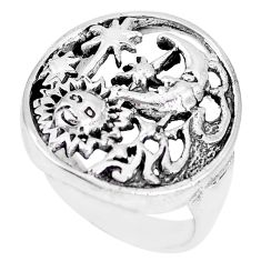 5.26gms indonesian bali style solid silver crescent moon star ring size 6 a92424