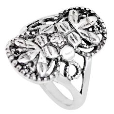4.69gms indonesian bali style solid 925 silver flower ring size 7.5 a92530