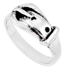 4.02gms indonesian bali style solid 925 silver belt charm ring size 7 a92535