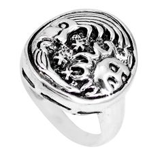 925 s5.69gms indonesian bali style solid crescent moon star ring size 6.5 a92538