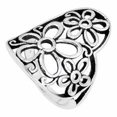 3.89gms indonesian bali style solid 925 silver flower ring size 6 a92548