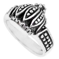 5.87gms indonesian bali style solid 925 silver crown ring size 5.5 a92585