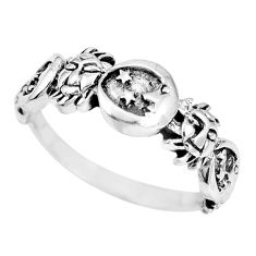 Indonesian bali style solid 925 silver crescent moon star ring size 9.5 a92614