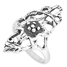 5.26gms indonesian bali style solid 925 silver flower ring size 8 a92616