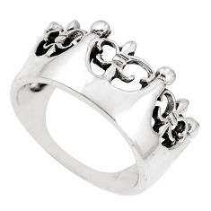 4.47gms indonesian bali style solid 925 silver crown ring size 5.5 a92647