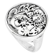 Indonesian bali style solid 925 silver crescent moon star ring size 8.5 a92652