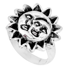 Indonesian bali style solid 925 silver crescent moon star ring size 6.5 a92668
