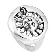 Indonesian bali style solid 925 silver crescent moon star ring size 8 a92670