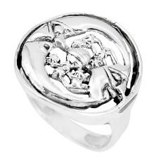 Indonesian bali style solid 925 silver crescent moon star ring size 7.5 a92673