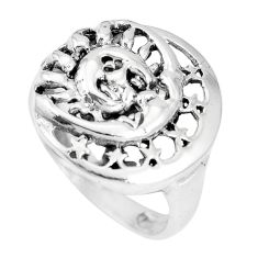 Indonesian bali style solid 925 silver crescent moon star ring size 8.5 a92681