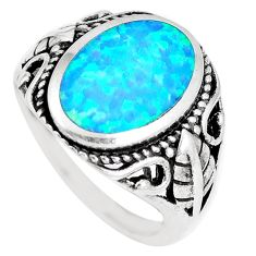 3.83cts blue australian opal (lab) 925 sterling silver ring size 7 a92820