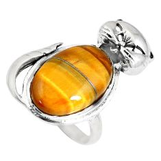 13.84cts natural brown tiger's eye 925 sterling silver cat ring size 6.5 a92898
