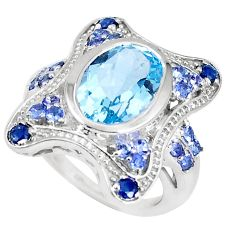7.75cts natural blue topaz tanzanite 925 sterling silver ring size 7 a93157